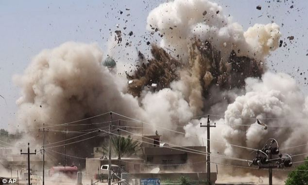 Rampage: The attack is the latest in the ISIS's violent rampage across Iraq. Earlier this week, a series of images (including the one pictured) emerged showing the destruction of almost a dozen shrines and Shia mosques in Mosul, Iraq's second largest city, and the town of Tal Afar, which is also currently under ISIS control.